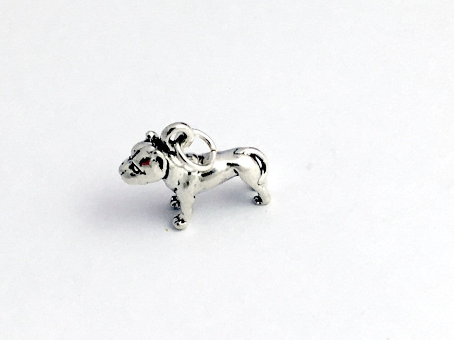 Sterling Silver  3-D pit bull dog  charm or pendant- dogs, terrier, American,