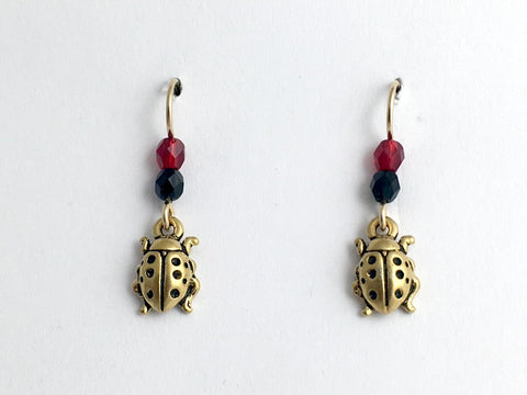 Gold tone Pewter & 14kgf earwire Ladybug earring- ladybugs, insect, black & red