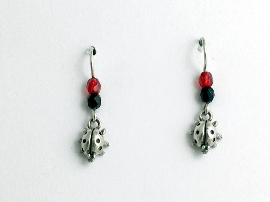 Sterling Silver small Ladybug dangle earring- red/black-insect, lady bug, bugs