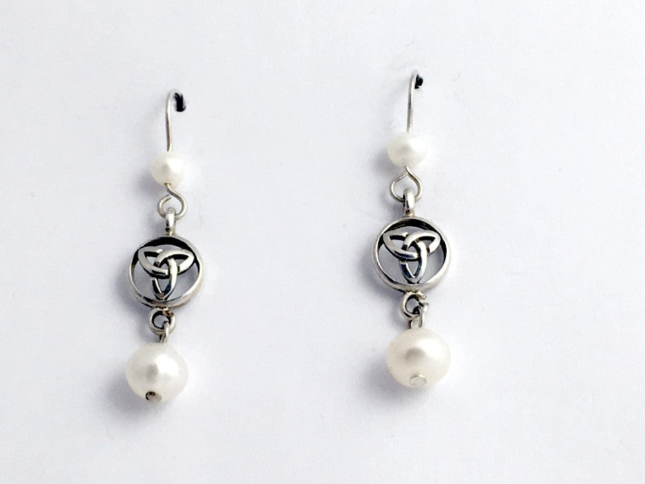 Sterling silver Celtic Trinity knot  in circle dangle earrings-freshwater pearls