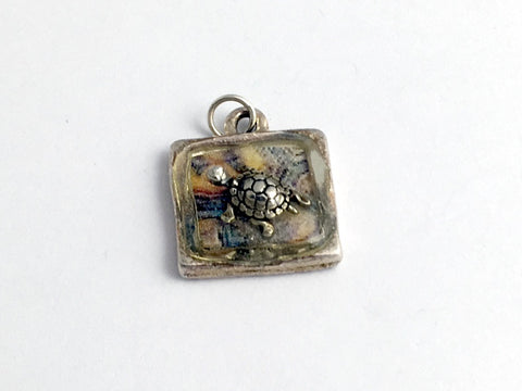Pewter with turtle shell print & sterling silver turtle pendant-resin, turtles