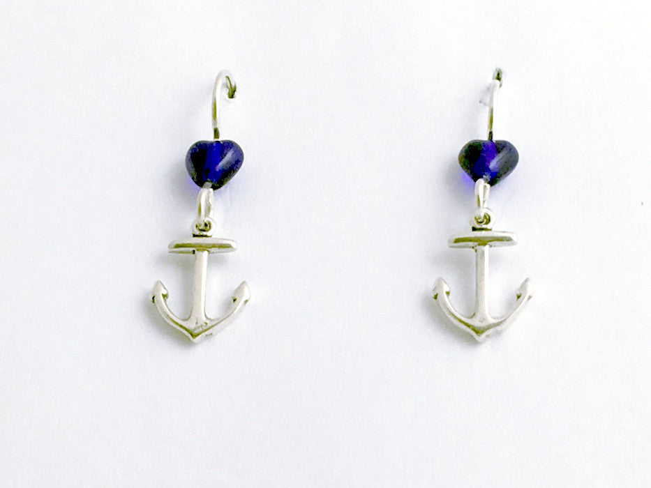 Sterling Silver small Anchor dangle earrings-ocean, marine, Navy, naval, ship