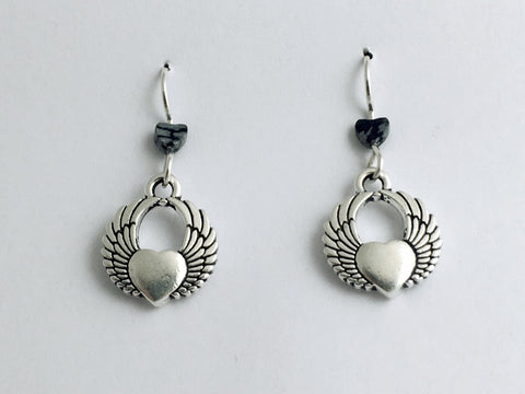 Pewter & sterling silver Heart with wings dangle earrings-snowflake obsidian