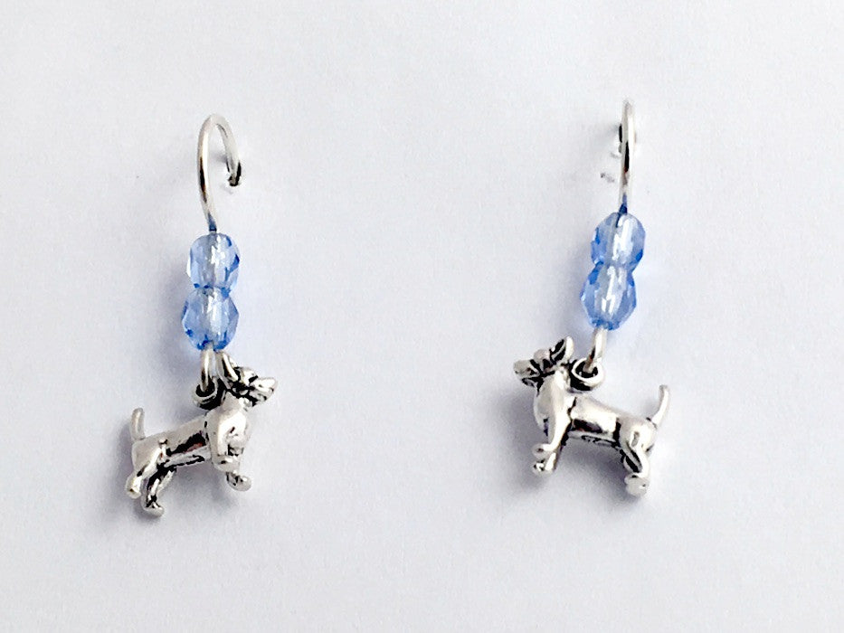 Sterling silver tiny chihuahua dog dangle Earrings-dogs, chihuahuas,K9
