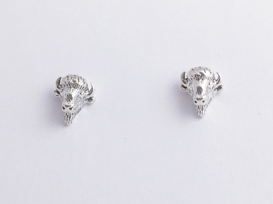 Sterling Silver and Surgical Steel Buffalo Head stud earrings-Buffalos, bison