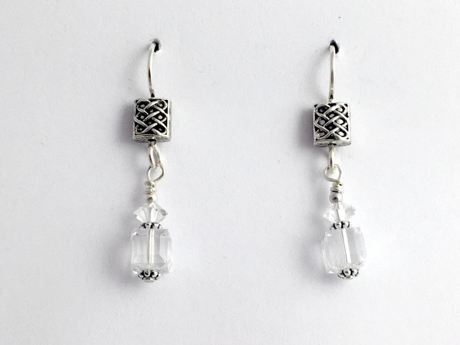 Pewter & sterling silver Celtic rectangle Knot dangle earrings-crystal, knots