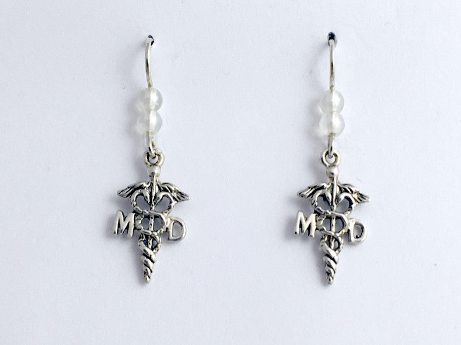 Sterling silver Caduceus MD dangle  earrings-Doctor- Medicine- Dr., Medical,