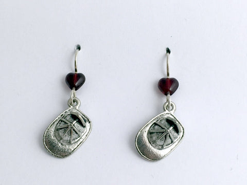 Pewter & Sterling Silver Fire Hat Earrings-Fireman, Fire Man, Firemen, Hats,