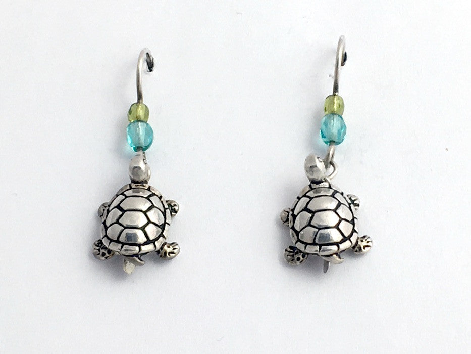 Pewter & Sterling silver medium 3-D turtle earrings-ocean -turtles,reptile,glass