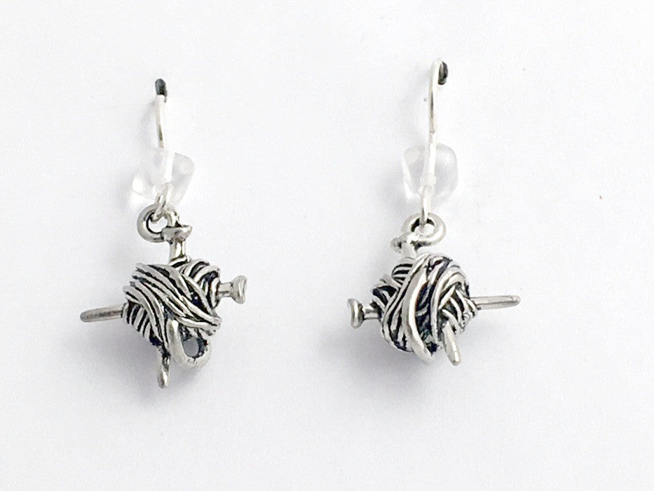 Pewter & sterling silver knitting earrings-ball of yarn & needles, knit, knitter