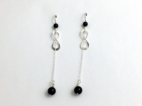 Sterling Silver Infinity with chain and black onyx dangle Earrings- symbol, knot