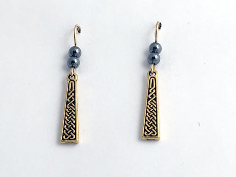 Gold tone Pewter & 14k gf Celtic knot braid dangle earrings - Hematite , knots