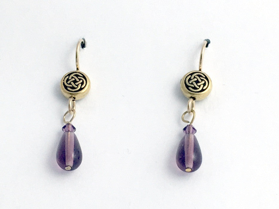 Gold tone Pewter &14k gf Celtic small Round Knot earrings- purple glass,crystal