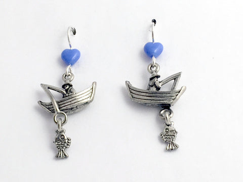 Pewter & sterling silver fisherman w/boat dangle earrings-fish, fisherwoman