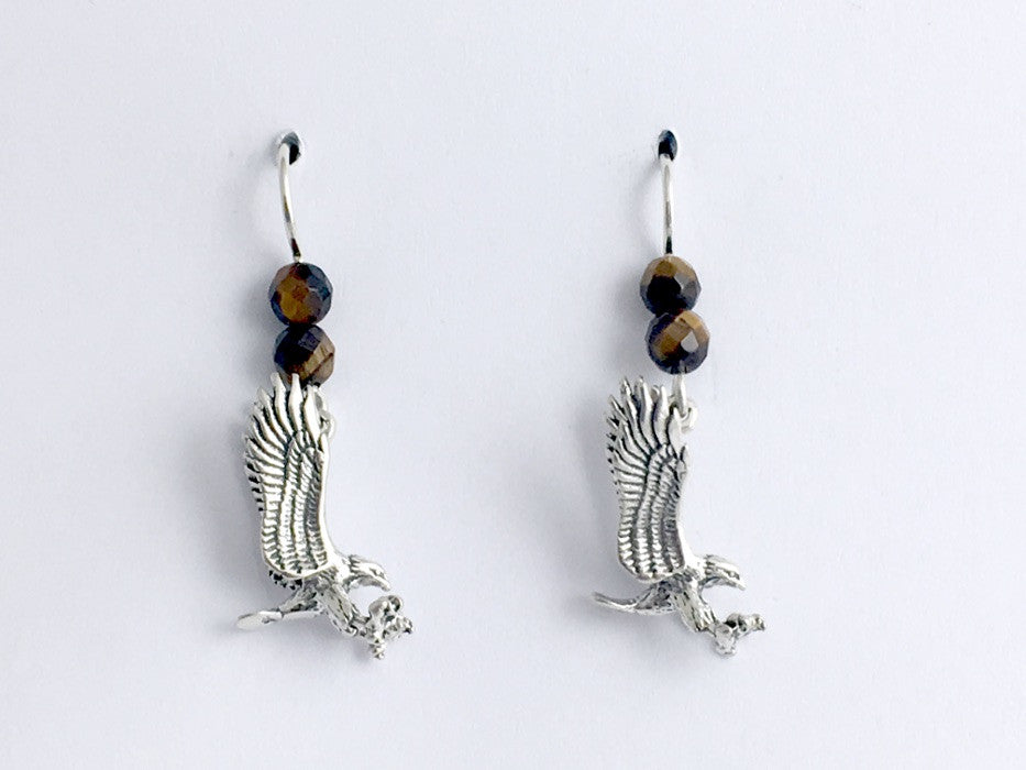 Sterling silver 3-D  Flying Eagle dangle earrings-Eagles,birds of prey,tiger eye