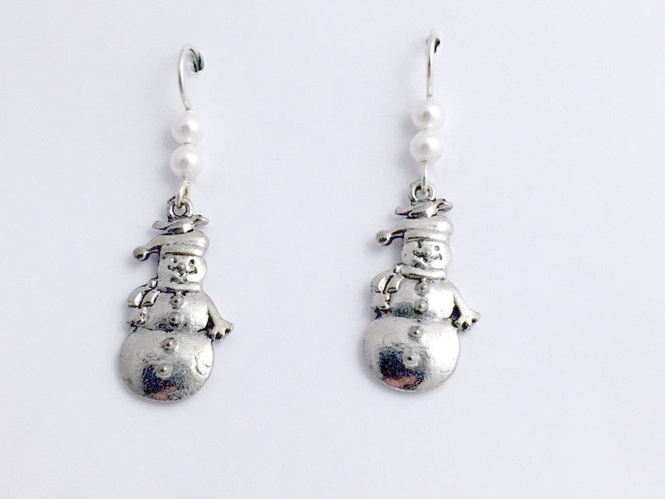 Pewter & Sterling Silver Snowman dangle Earrings- holiday, winter, snow, man