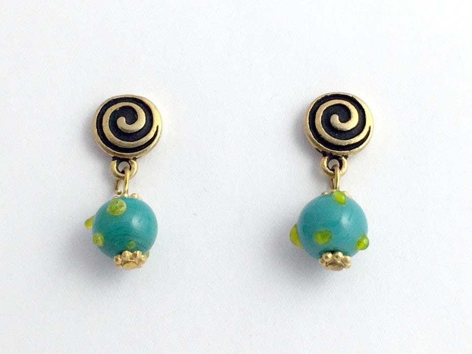 Gold Tone Pewter & surgical steel Spiral Stud with aqua and green glass Earrings