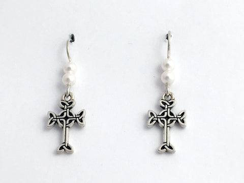 "Pewter & Sterling silver Celtic knot cross dangle earrings-  glass ""pearls"""