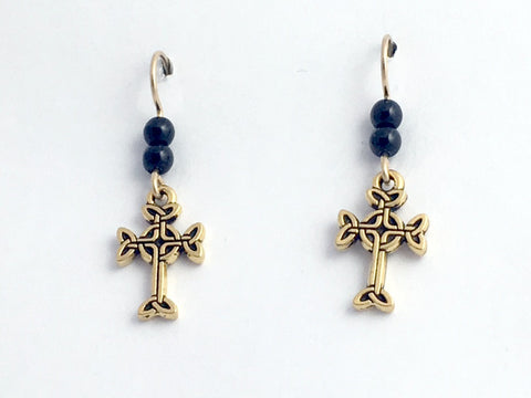 Gold tone Pewter & 14k gf Celtic knot Cross  dangle earrings-black glass, religion