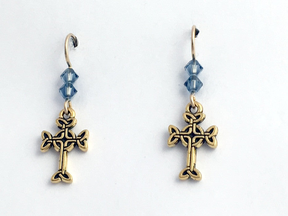 Gold tone Pewter & 14k gf Celtic knot Cross  dangle earrings- denim blue crystal