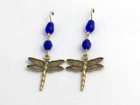 Gold tone Pewter large Dragonfly dangle earring-14kgf earwire-dragonflies-cobalt