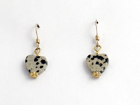 Dalmatian Jasper heart dangle earrings-love,14k gold filled wire, Valentine