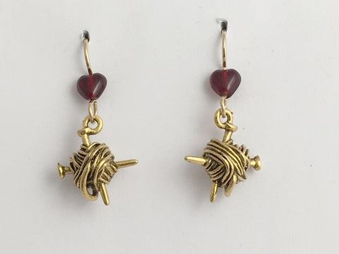 Gold tone Pewter & 14kgf ball of yarn & knitting needles dangle earrings-knit-