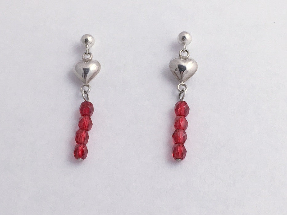 Sterling Silver 4mm ball stud w/ small puffy heart dangle Earrings-Valentine,red