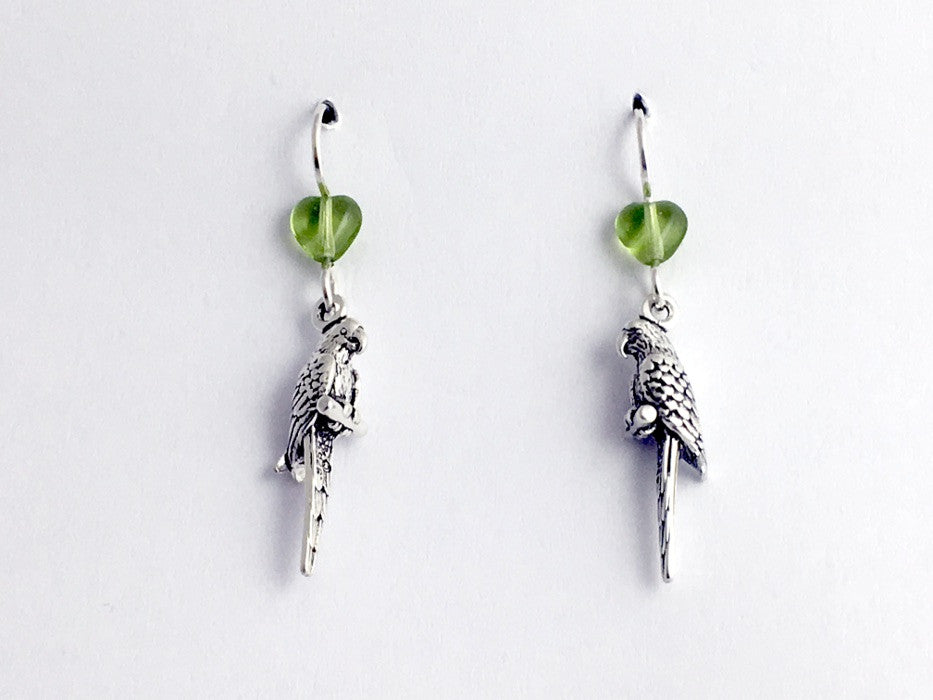 Sterling silver 3-D parrot dangle earrings-full bird- birds, parrots, macaw,