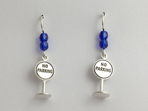 Sterling silver No Parking sign dangle  Earrings-meter maid, Law enforcement,