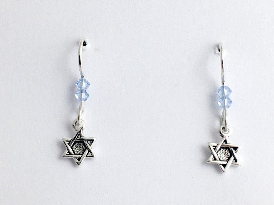 Sterling silver tiny Star of David dangle earrings- Judaism, Jewish, Judaica