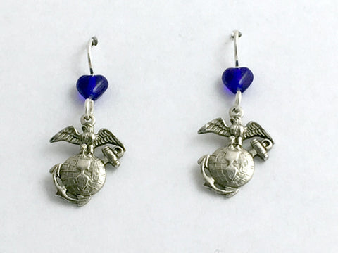Pewter & Sterling silver Marine Symbol dangle Earrings- Eagle, World, Marines