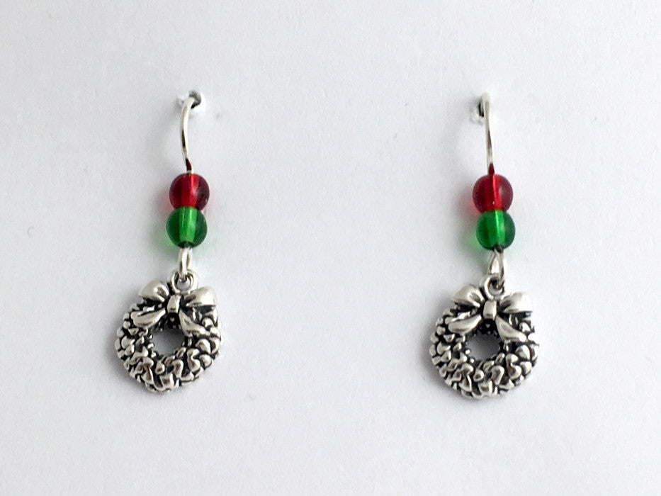 Sterling Silver Christmas Wreath dangle earrings-holiday, holidays, Bow, wreaths