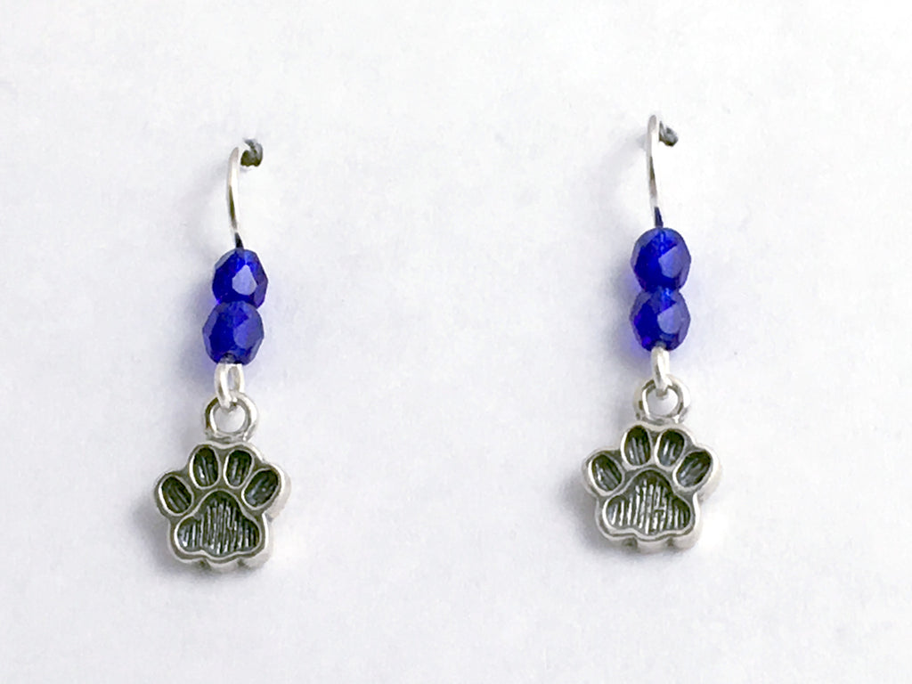 Sterling silver tiny paw print dangle earrings-dog,cat,team colors,paws,dogs