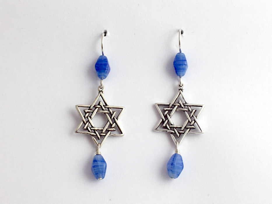 Sterling silver lg double Star of David dangle earrings-judaica- religion, stars,