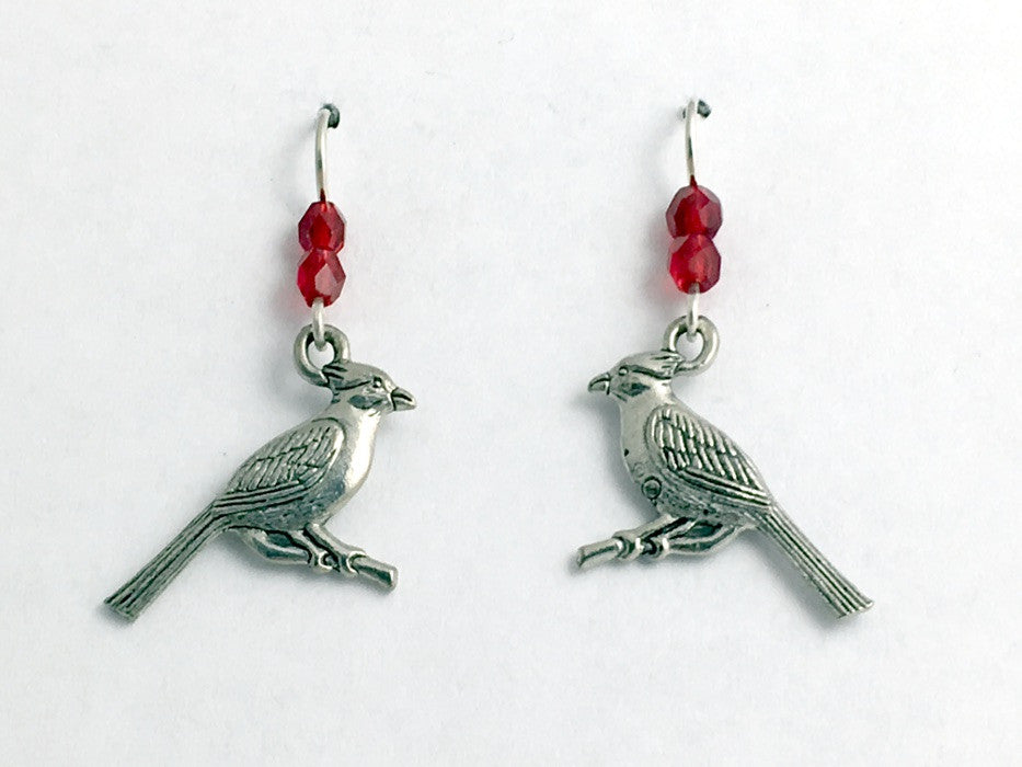 Pewter and Sterling silver cardinal dangle earrings-bird-red, cardinals, birds
