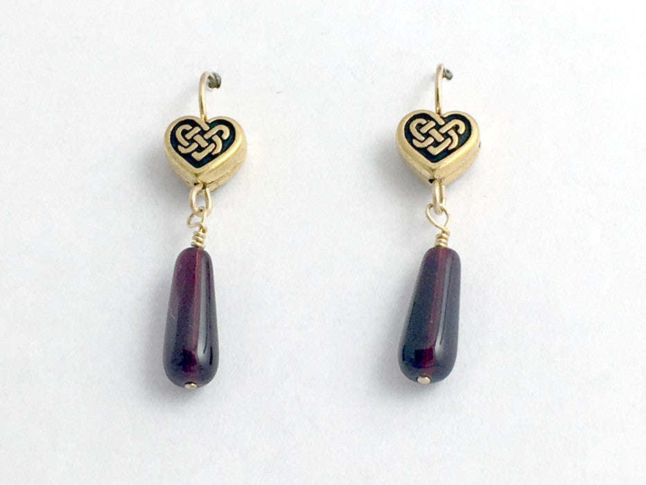 Gold tone Pewter & 14k gf Celtic Knot Heart earrings, burgundy glass, hearts