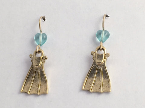 Goldtone Pewter & 14k GF Swim fin dangle earring-Scuba,Divers, Dive,fins,flipper
