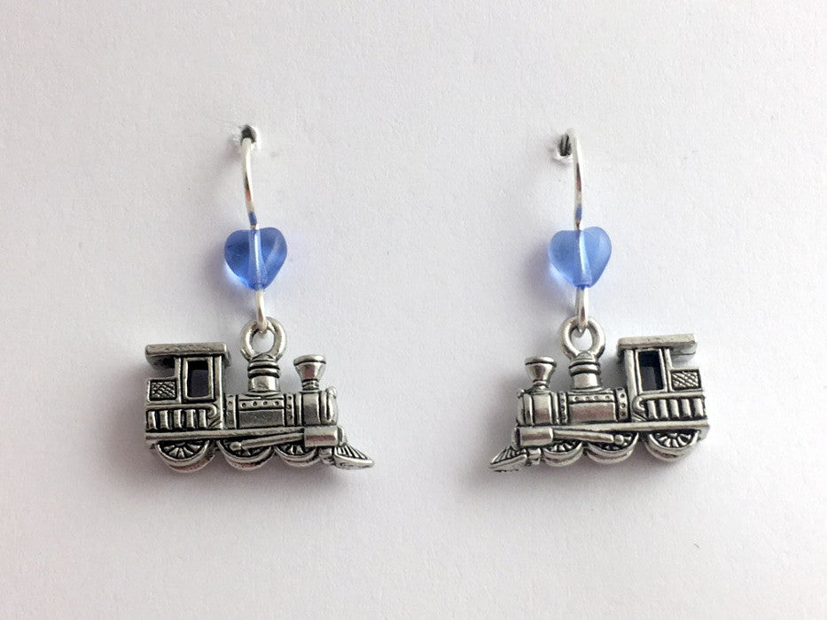 Pewter & sterling silver locomotive dangle earrings-train, trains, toy, RR,