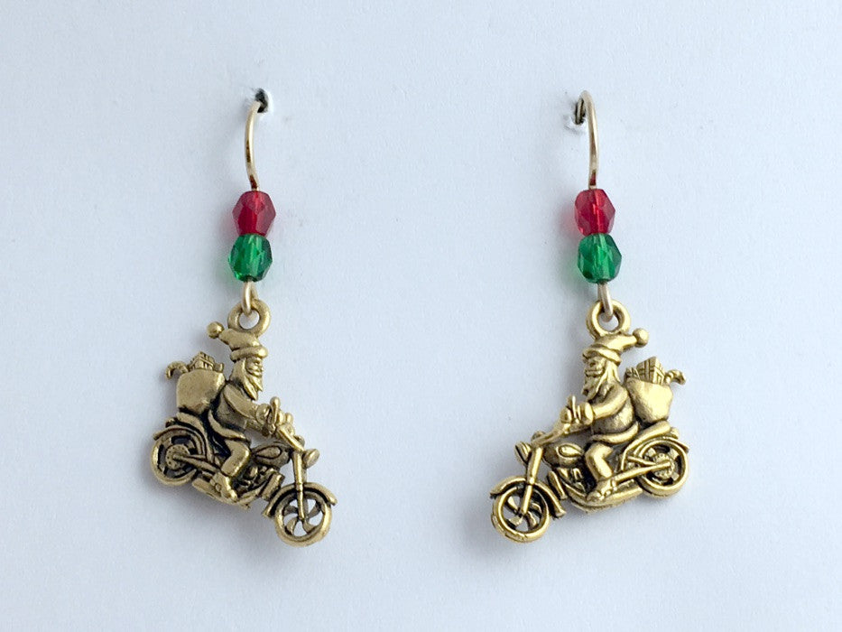 Goldtone Pewter & 14k gf Santa on motorcycle dangle Earrings-Christmas- holiday