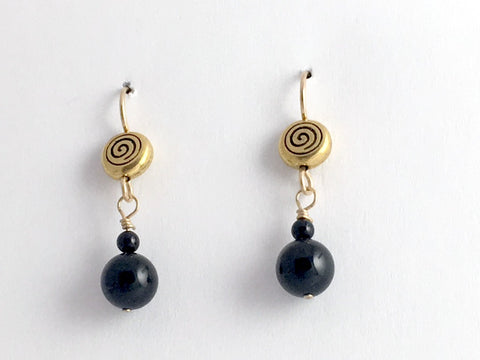 Gold tone Pewter & 14kgf spiral dangle earrings- black Onyx, spirals, Celtic,