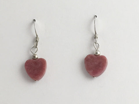 Rhodonite heart dangle earrings-love,Sterling Silver, Valentine, hearts, sweet