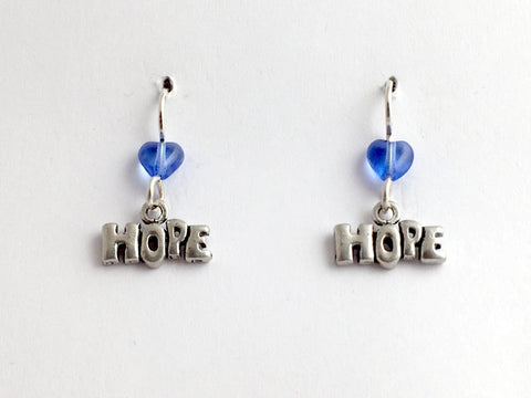 Pewter & sterling silver Hope dangle earrings- blue glass heart - word, team,