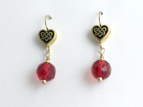 Gold tone Pewter & 14k gf Celtic Knot Heart earrings,red crystal,love,Valentine