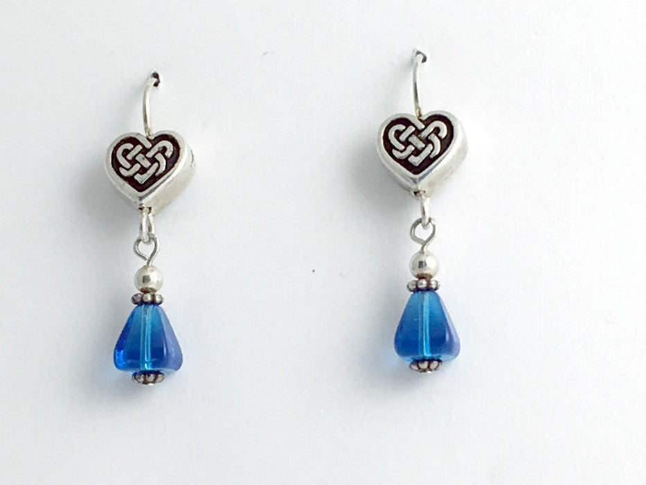 Pewter & sterling silver Celtic Knot Heart dangle earrings-blue glass-Valentine