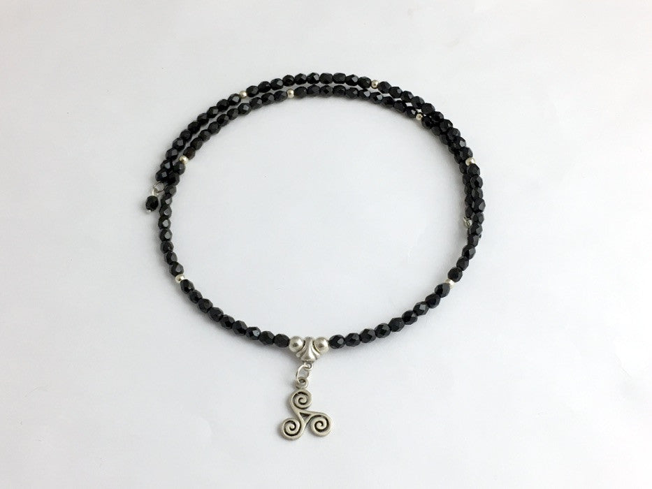 Black Glass with Sterling Silver Triskelion Centerpiece Memory Wire ...