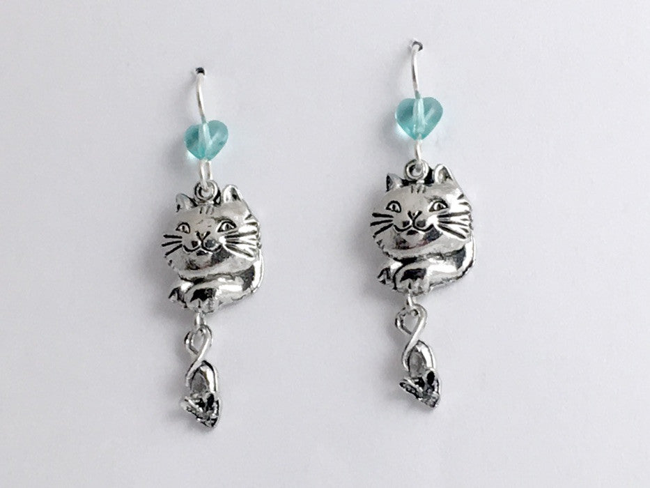 Pewter & sterling silver Cat & Mouse dangle Earrings- cats, mice, feline, kitty