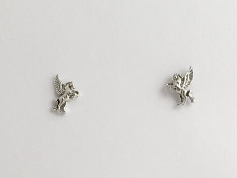 Sterling Silver & Surgical Steel Pegasus stud earrings- fantasy- winged horse
