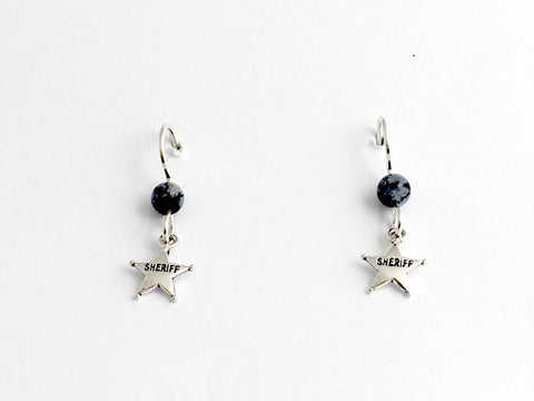 Sterling silver tiny Sheriff badge dangle earrings-Law Enforcement, star,