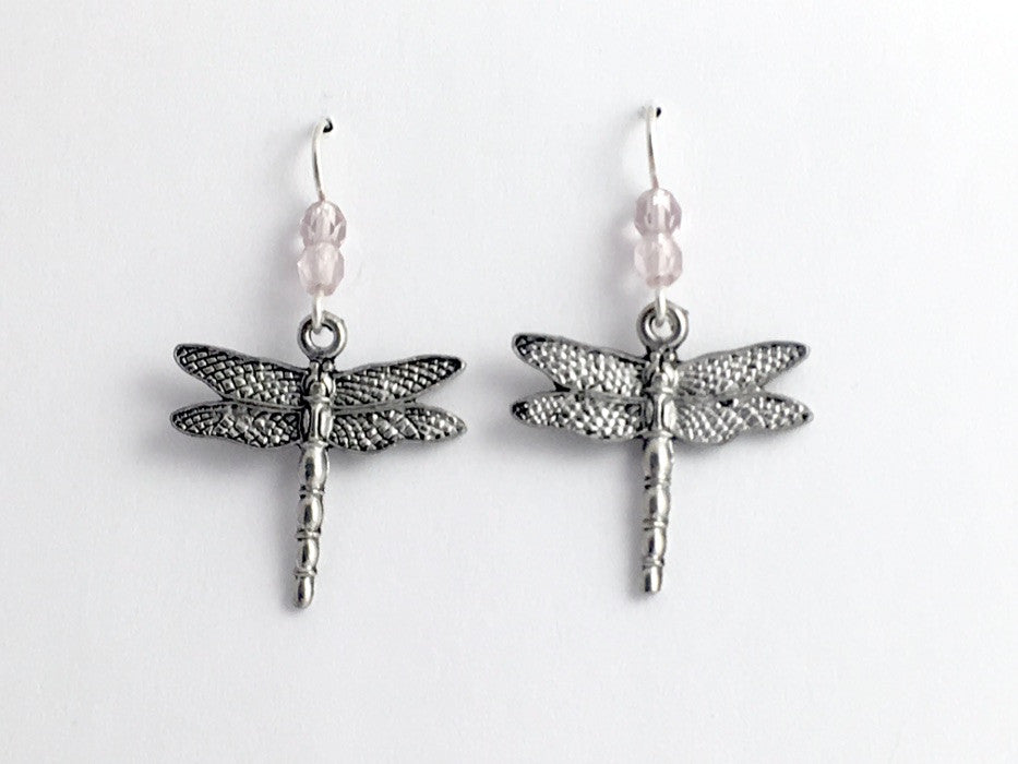 Pewter and Sterling silver dragonfly dangle earrings-dragonflies-insect-lavender